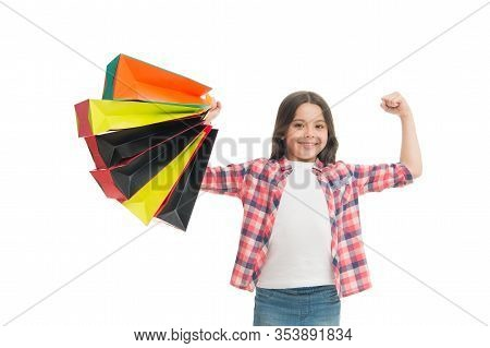 Shopping Is My Superpower. Happy Child With Paper Bags. Little Girl Smile With Shopping Bags. Holida