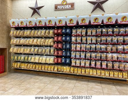 Houston, Tx/usa-2/25/20:  Snacks At A Buc Ees.  The Buc Ees Gas Station, Fast Food Restaurant, And C
