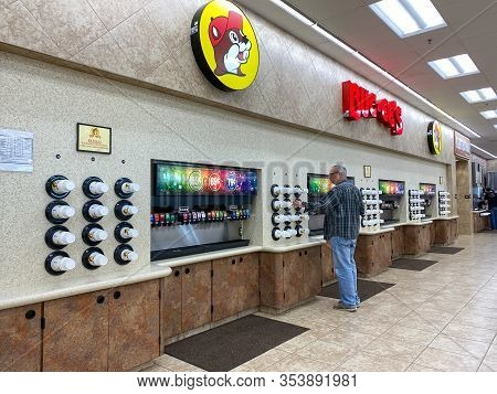Houston, Tx/usa-2/25/20: A Soda Fountain At A Buc Ees.  The Buc Ees Gas Station, Fast Food Restauran