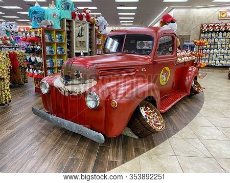 Houston, Tx/usa-2/25/20:  A Painted Pickup Truck With Bucees Beaver Display At A Buc Ees.  The Buc E