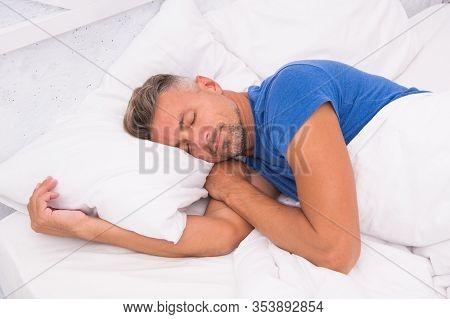 Man Laying On Bed Awake. Sleeping In Comfortable Bed. Good Morning. Just Relaxing. Slumber Man. Bear