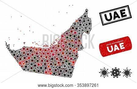 Coronavirus Collage Arab Emirates Map And Grunge Stamp Watermarks. Arab Emirates Map Collage Created