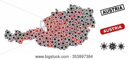 Coronavirus Collage Austria Map And Distressed Stamp Watermarks. Austria Map Collage Composed With S