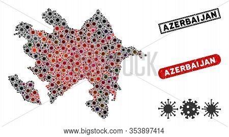 Coronavirus Collage Azerbaijan Map And Grunge Stamp Watermarks. Azerbaijan Map Collage Designed With