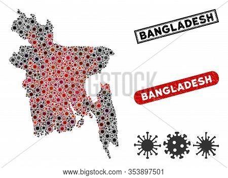 Coronavirus Collage Bangladesh Map And Grunge Stamp Seals. Bangladesh Map Collage Designed With Rand