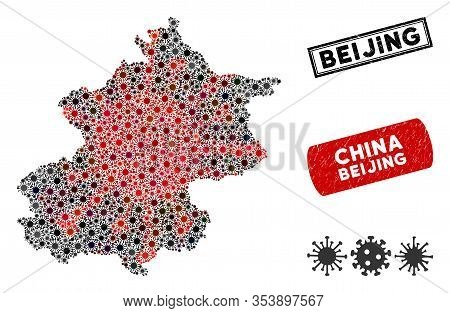 Coronavirus Mosaic Beijing City Map And Grunge Stamp Seals. Beijing City Map Collage Designed With S