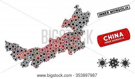 Coronavirus Collage Chinese Inner Mongolia Map And Grunge Stamp Watermarks. Chinese Inner Mongolia M