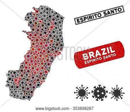 Coronavirus Collage Espirito Santo State Map And Distressed Stamp Seals. Espirito Santo State Map Co