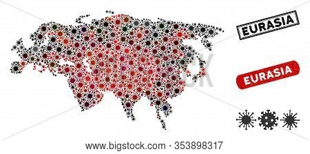 Coronavirus Mosaic Eurasia Map And Rubber Stamp Seals. Eurasia Map Collage Composed With Random Red