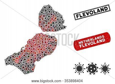 Coronavirus Collage Flevoland Province Map And Grunge Stamp Seals. Flevoland Province Map Collage Fo