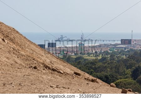 Pachacamac, Lima / Peru - May 10 2016: An Oil Refinery And Port Near The City Of Lima, View With Poo