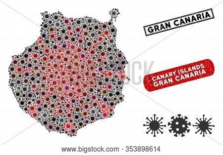 Coronavirus Collage Gran Canaria Map And Distressed Stamp Seals. Gran Canaria Map Collage Designed W