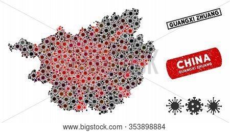 Coronavirus Collage Guangxi Zhuang Region Map And Grunge Stamp Seals. Guangxi Zhuang Region Map Coll
