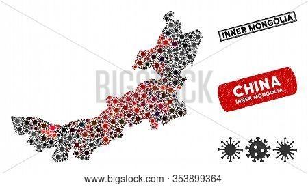 Coronavirus Collage Inner Mongolia Map And Corroded Stamp Seals. Inner Mongolia Map Collage Formed W