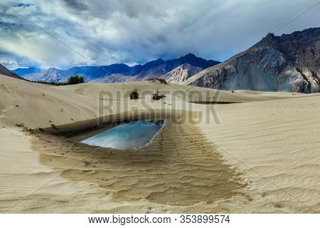 Sand dunes in Himalayan desert near Hunder village. Himalayas, Nubra valley, Ladakh. India