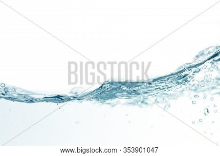 Close Up Water Splash With Air Bubbles. Fresh And Clean Surface Aqua Flowing In Wave And Clean Water