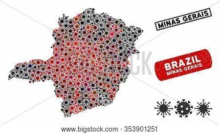 Coronavirus Mosaic Minas Gerais State Map And Corroded Stamp Seals. Minas Gerais State Map Collage C