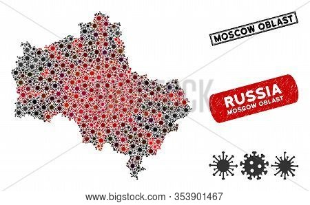Coronavirus Mosaic Moscow Oblast Map And Rubber Stamp Watermarks. Moscow Oblast Map Collage Composed