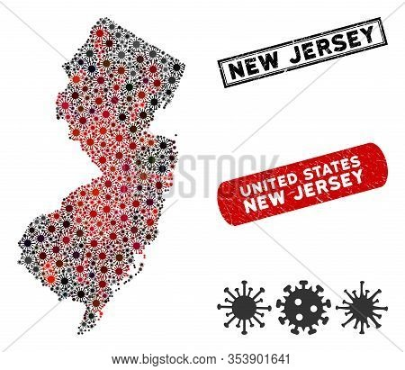 Coronavirus Collage New Jersey State Map And Rubber Stamp Watermarks. New Jersey State Map Collage F