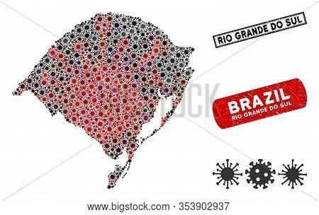 Coronavirus Collage Rio Grande Do Sul State Map And Rubber Stamp Seals. Rio Grande Do Sul State Map