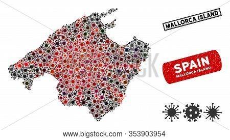 Coronavirus Collage Spain Mallorca Island Map And Grunge Stamp Seals. Spain Mallorca Island Map Coll