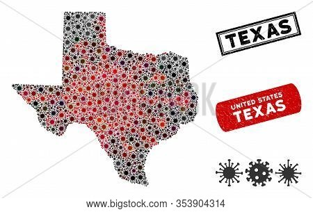 Coronavirus Collage Texas Map And Rubber Stamp Watermarks. Texas Map Collage Composed With Scattered