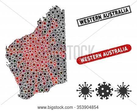Coronavirus Mosaic Western Australia Map And Grunge Stamp Seals. Western Australia Map Collage Forme