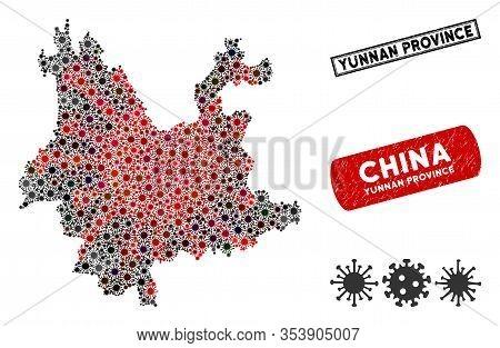 Coronavirus Mosaic Yunnan Province Map And Rubber Stamp Watermarks. Yunnan Province Map Collage Comp