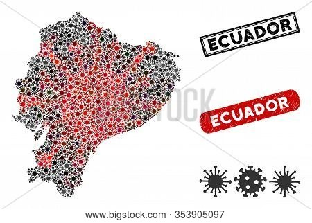 Coronavirus Collage Ecuador Map And Distressed Stamp Watermarks. Ecuador Map Collage Constructed Wit