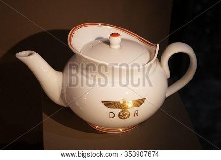 New Orleans, Louisiana, U.s.a - February 4, 2020 - The German Nazis Teapot Used During World War Ii