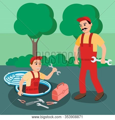 Two Repairman Plumber With Spanner Plumbing Equipment In Open Manhole At Street Vector Illustration.