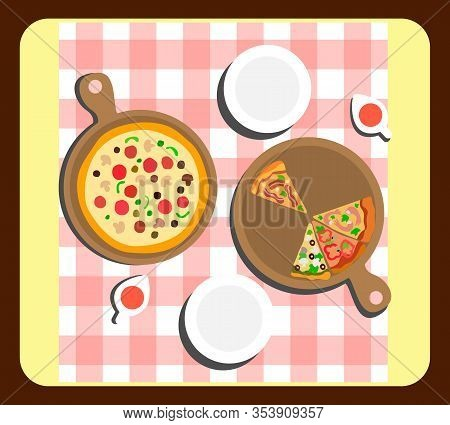 Pizza On Wooden Board Top View Vector Illustration. Home-cooked Dish And Sauce Flat Composition. Car