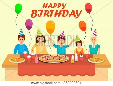 Happy Birthday Banner Cartoon Vector Template. Different Pizza Types On Plates. Anniversary Greeting