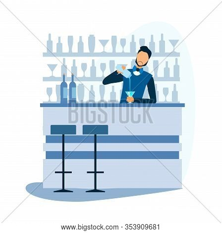 Cartoon Barman Prepare Alcoholic Cocktail At Bar. Bartender Standing At Counter, Mixing Ingredient A