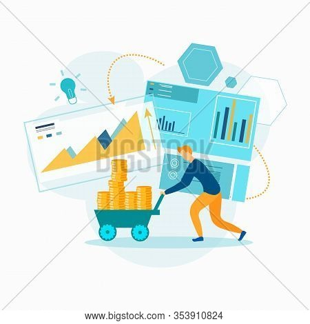 Cash Contribution Business. Successful Businessman. Vector Illustration. Earn Money. Economy System.