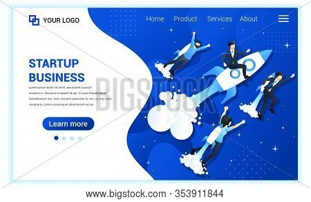 Business Start Up Concept With People Flying With Rocket. Business Success, Entrepreneurship, Succes