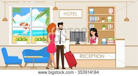 Vector Illustration Service At Hotel Reception. Man And Woman With Suitcase Are Checked Front Desk H