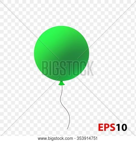 Ballon Realistic Dark Green Isolated On A Transparent Background.design Element For Celebration, Kid