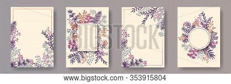 Cute Herb Twigs, Tree Branches, Flowers Floral Invitation Cards Set. Plants Borders Vintage Cards De