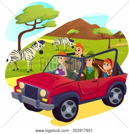 Happy Family Driving Jeep On Safari In Africa Or Open Air Zoo Park With Hoofed Animals Walking Aroun