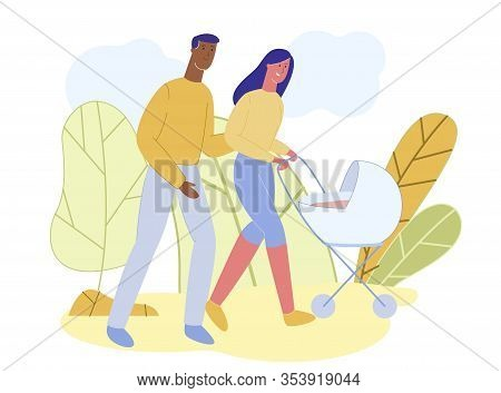 Young Loving Multicultural Couple, Pushing Baby Stroller. Happy Smiling Mother And Father Are Breath