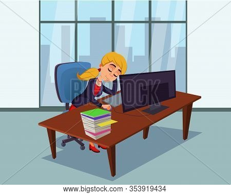 Tired Female Worker Character Sleeping At Workplace. Cartoon Exhausted Businesswoman Overworked Cauc