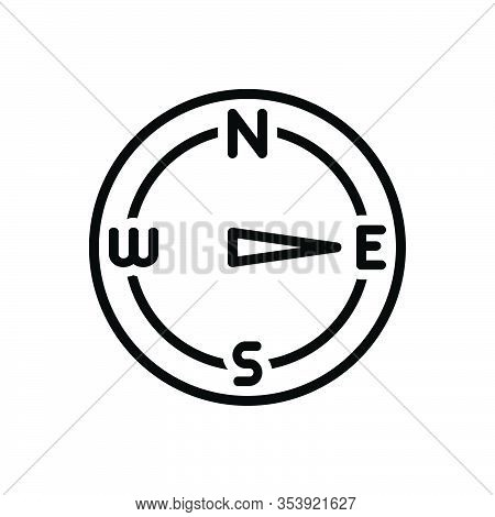 Black Line Icon For East Eastern Compass Direction Navigation Arrow Discovery Map North