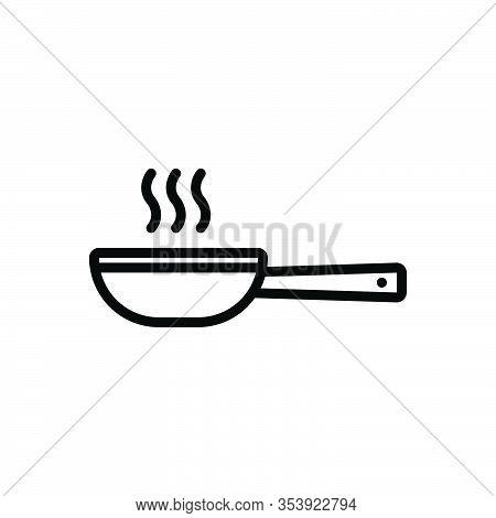 Black Line Icon For Frying-pan  Pan Dripping-pan Skillet  Saucepan  Vessel Porringer Sweep Swing Sep