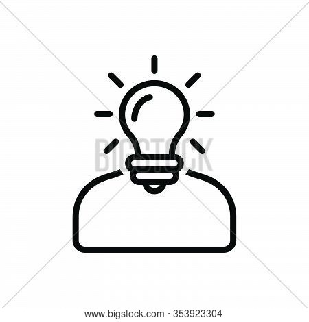 Black Line Icon For Understand Deem Comprehend Idea Perceive Think Ponder Interpret