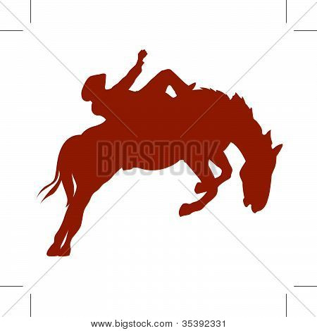Rodeo Rider On Bucking Bronco