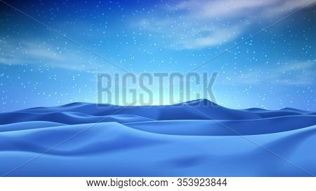 Realistic Night Desert Landscape. Beautiful View On Realistic Sand Dunes With Starry Sky. 3d Vector
