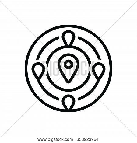 Black Line Icon For Nearby Adjacent Neighboring Near Close Nearby Nigh Short Gps Mark Navigation Loc
