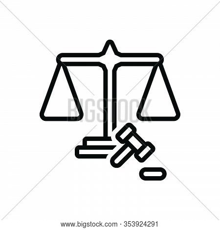 Black Line Icon For Fairly Adequately Justly Justice Scale Law Balance Weight Equal Judge Legal Equi