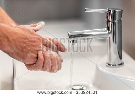 Coronavirus virus spreading prevention wash hands with soap rubbing nails and fingers washing frequently with running water or using hand sanitizer gel.